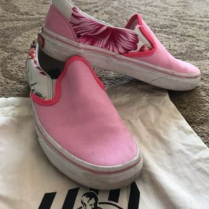 Custom Pink/Floral Slip on Vans